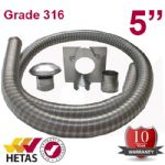 "10m x 5"" Flexible Multifuel Flue Liner Pack For Stove"